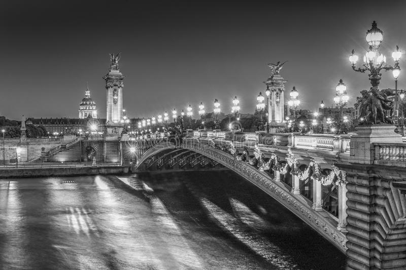 The 'Pont Alexandre III' de Paris. Black and white picture of the Alexander III Bridge in Paris, France stock photography