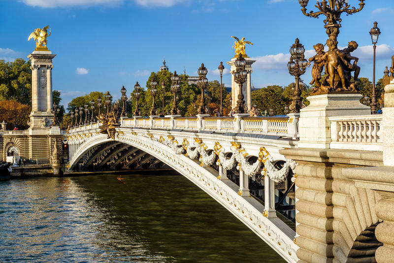 Pont Alexandre III in Paris. The Pont Alexandre III in Paris, France. This bridge was named after russian Tsar Alexander III royalty free stock photos