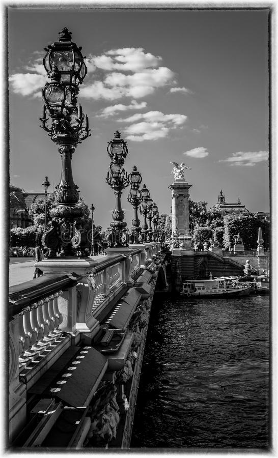 Pont Alexandre III in Paris. Lights on Pont Alexandre III in Paris - Black and White stock photos