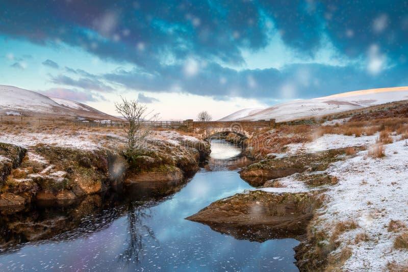 Pont Ar Elan, Elandal, Wales Snöig plats av den Afon elanen som flödar under en bro med det ensamma trädet och den tidiga solen arkivbilder
