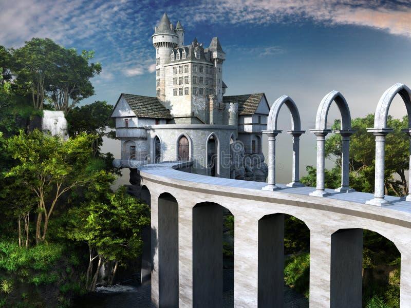 Pont au château blanc illustration de vecteur
