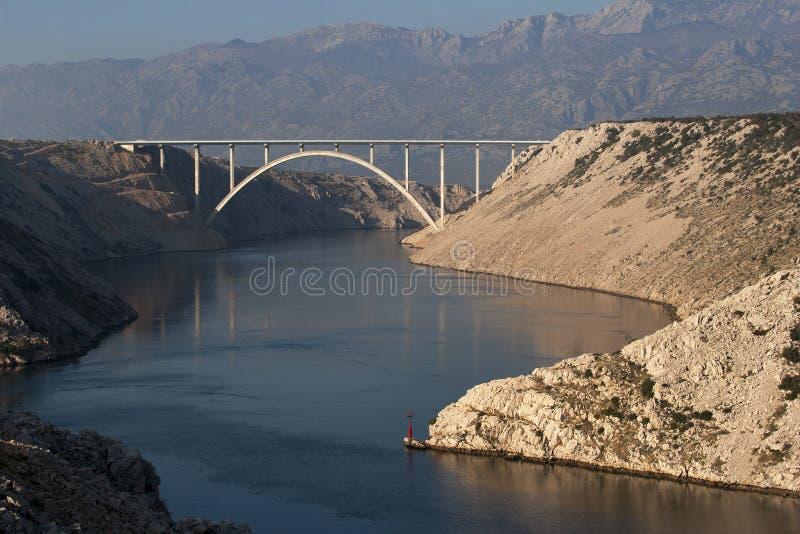 Pont au-dessus de gorge de Maslenica image stock