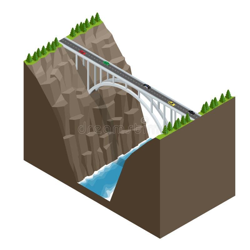 Pont au-dessus de la rivière dans les montagnes Illustration isométrique plate de vecteur de construction de pont illustration stock