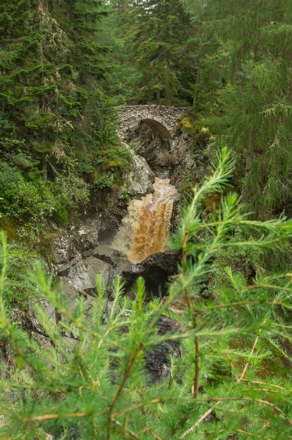 Pont au-dessus des chutes de Bruar photographie stock libre de droits