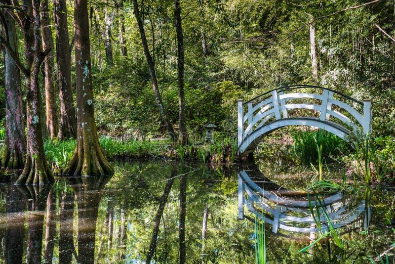 Pont aux jardins de magnolia, Sc de Charleston images libres de droits