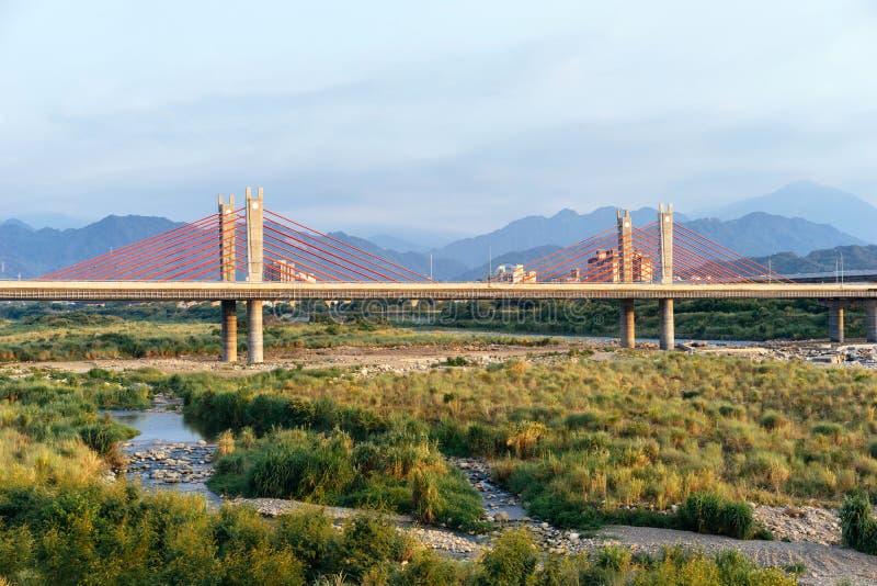Pont Câble-resté, Hsinchu, Taïwan photographie stock