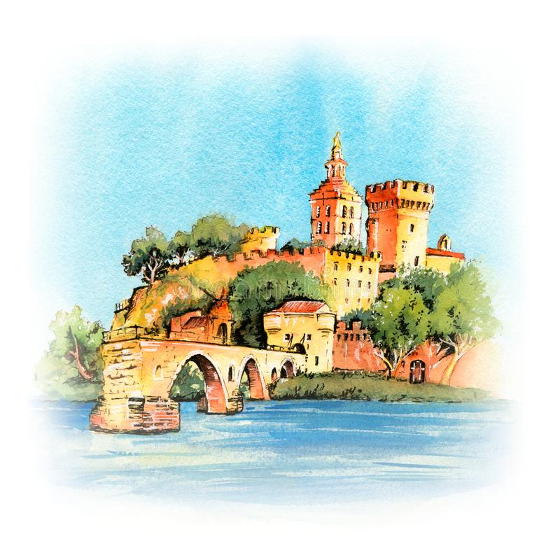 Pont c?l?bre d'Avignon, France illustration libre de droits