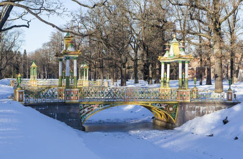 Pont chinois Alexander Park Ville de Pushkin (Tsarskoye Selo) Russie photos libres de droits