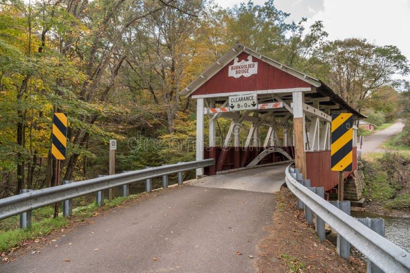 Pont couvert de Burkholder en Garrett Pennsylvania photographie stock libre de droits