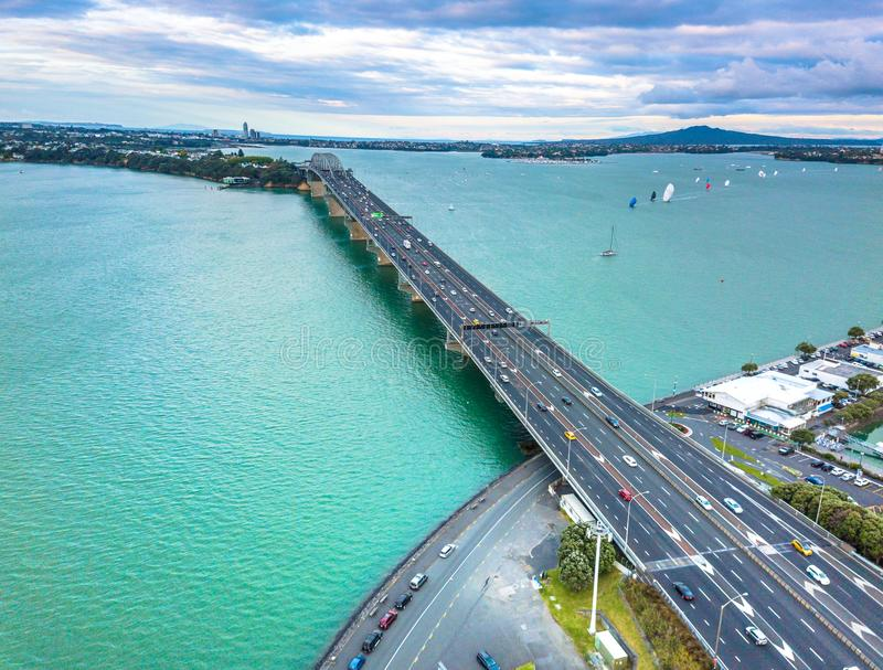Pont d'Auckland Westhaven photographie stock