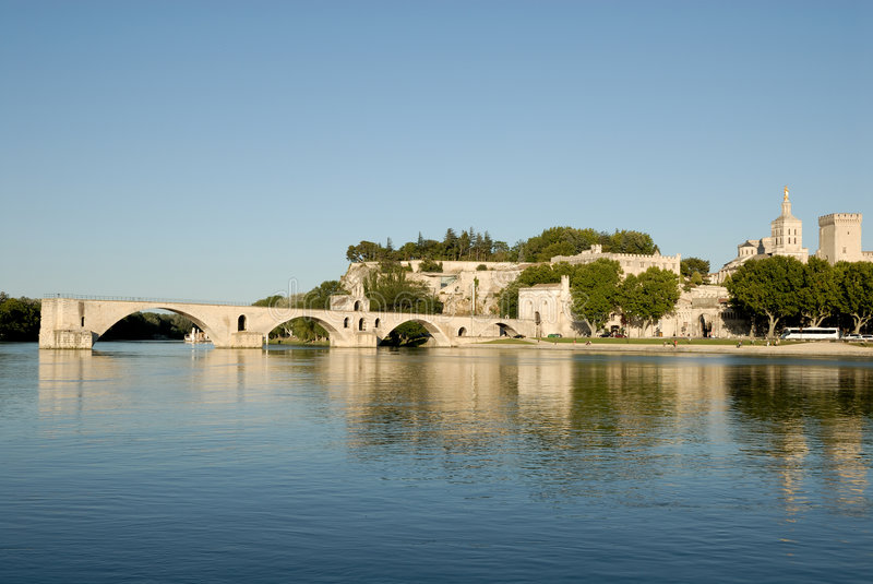 Pont d'Avignon in Avignon, France. Pont d'Avignon and Popes Palace in Avignon, France stock image