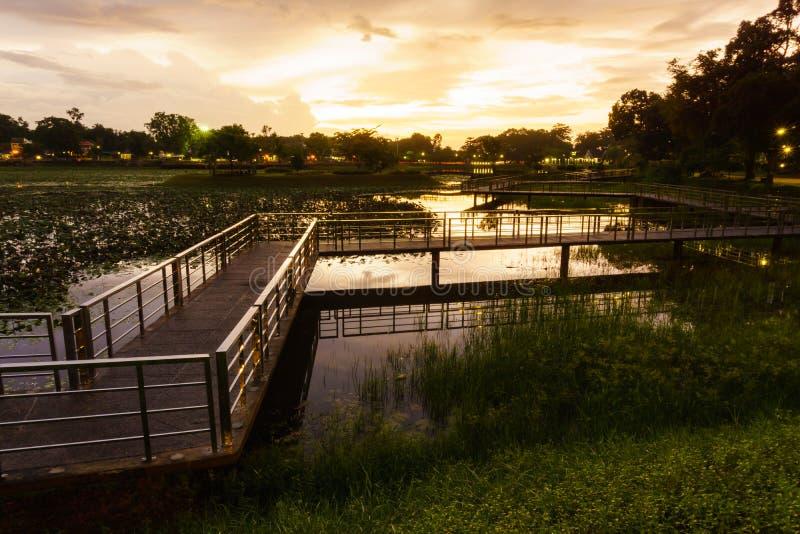Pont dans le lac photos libres de droits