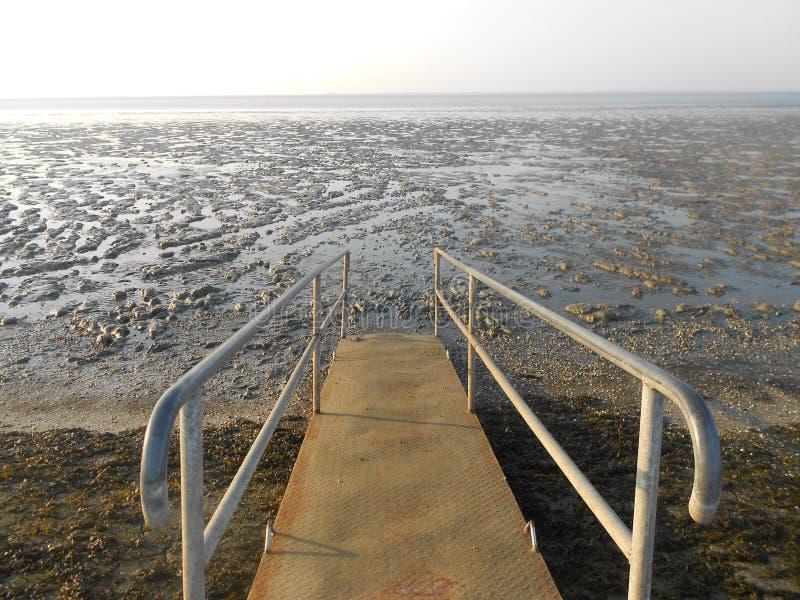 Pont dans le mudflat photographie stock