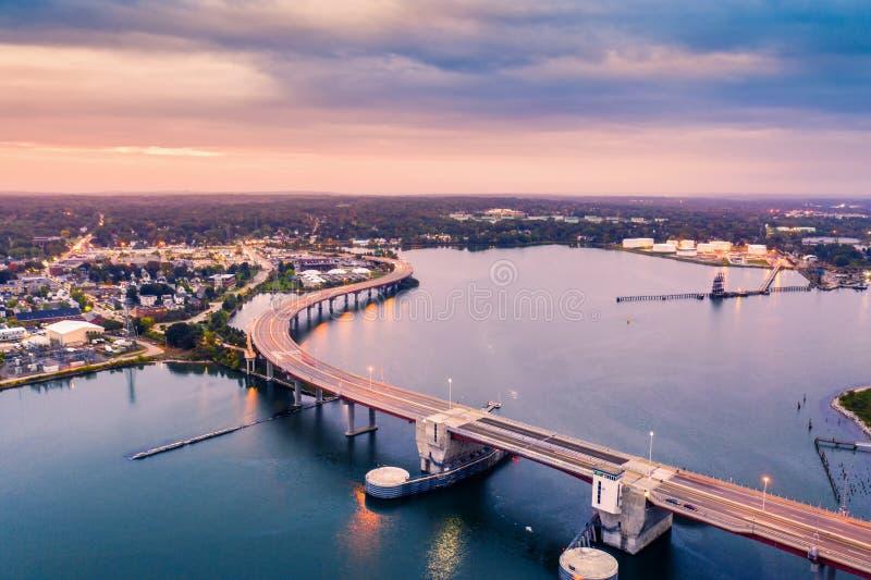 Pont de baie de Casco à Portland, Maine photo stock