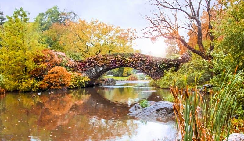 Pont de balcon dans le Central Park à Manhattan, New York City photographie stock libre de droits
