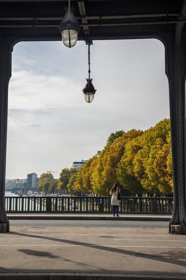 Pont de Bir-Hakeim en París foto de archivo libre de regalías
