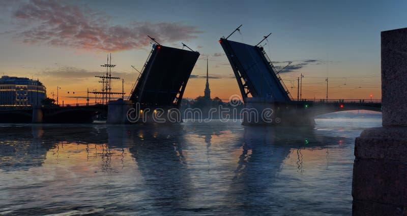 Pont de Birzhevoy et Peter et Paul Cathedral à St Petersburg images libres de droits