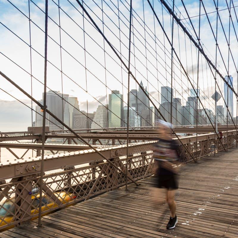 Pont de Brooklyn au coucher du soleil, New York City photos stock