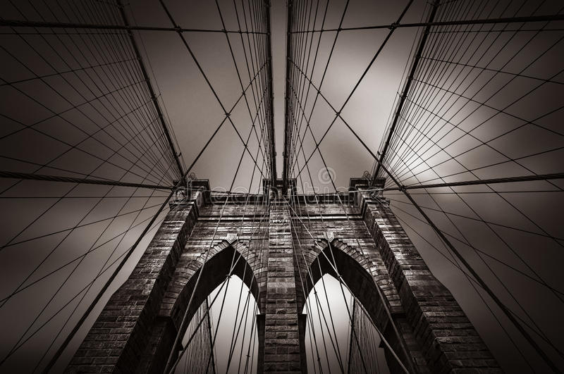 Pont de Brooklyn dans NYC, Etats-Unis images stock