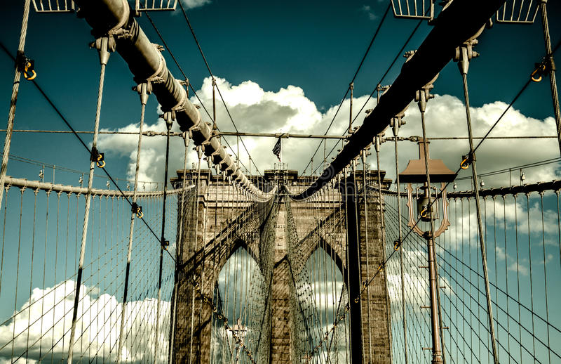 Pont de Brooklyn, Manhattan New York Concept vivant urbain photo libre de droits