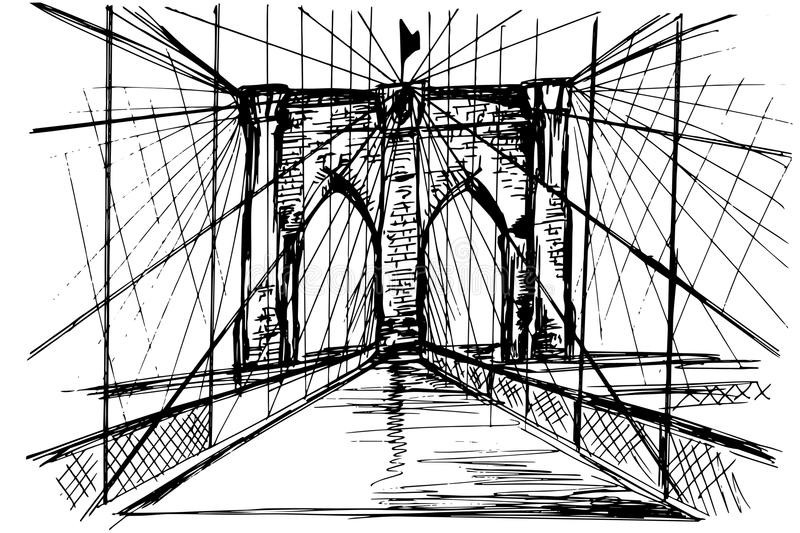 Pont de Brooklyn tiré par la main - vecteur illustration stock