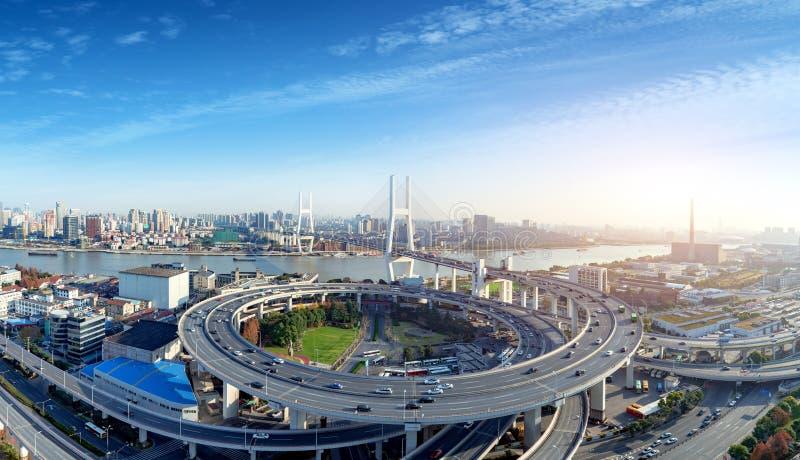 Pont de Changhaï Nanpu image libre de droits
