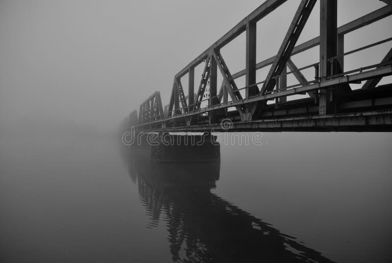 Pont de chemin de fer dans le regain photographie stock libre de droits