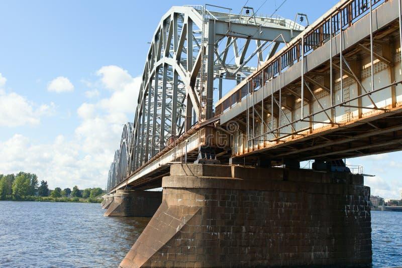 Pont de chemin de fer de Riga, Lettonie. images libres de droits