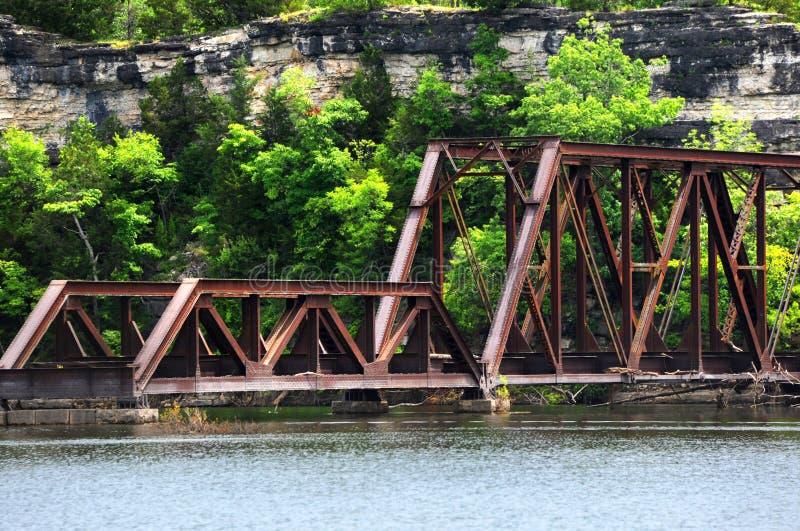 Pont de chemin de fer de l'Arkansas Ozarks images libres de droits