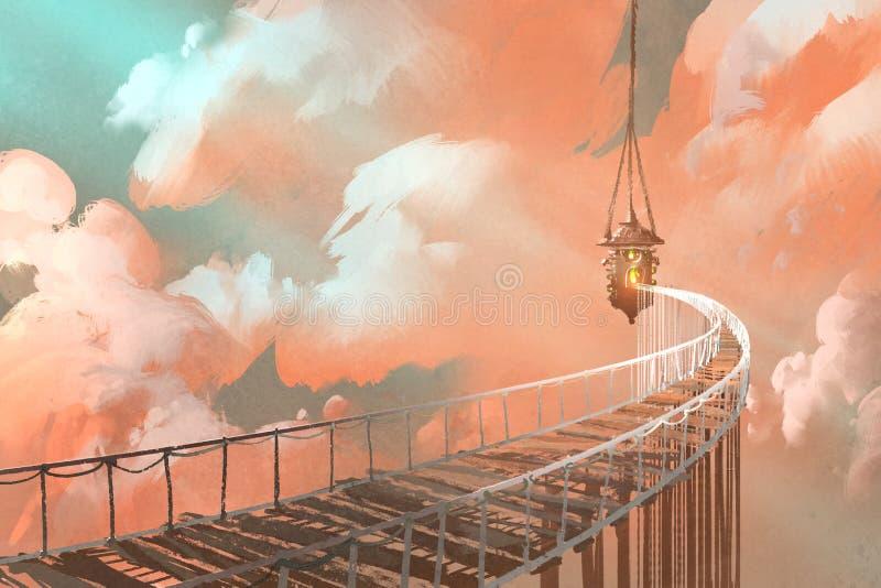 Pont de corde menant à la lanterne accrochante dans des nuages illustration de vecteur