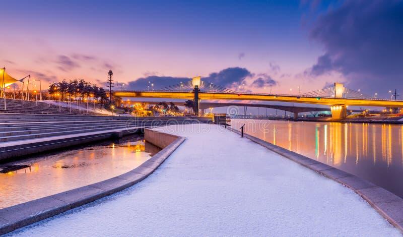 Pont de Geomam de nuit en Corée images libres de droits