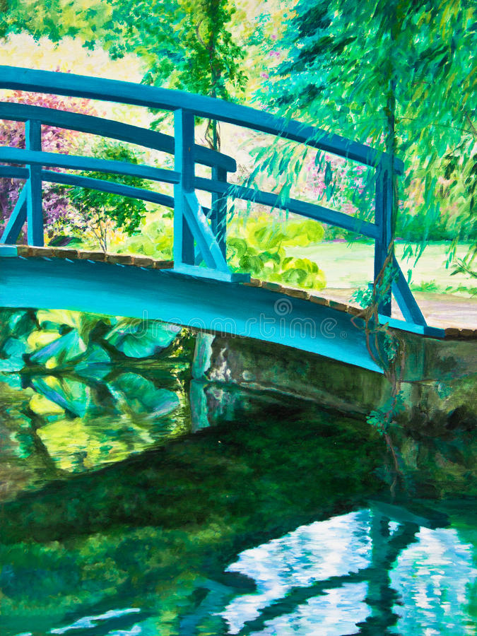 Pont de Giverny sur l'eau Lily Pond photographie stock