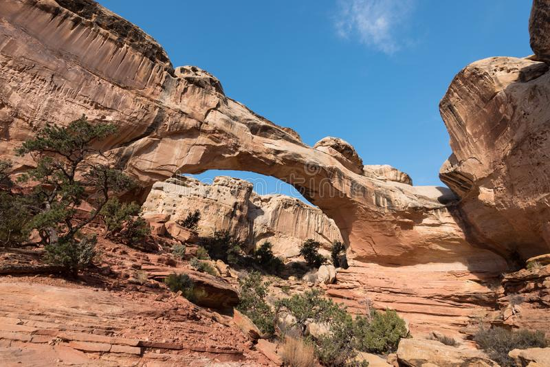 Pont de Hickman - parc national de r?cif capital, Utah image stock