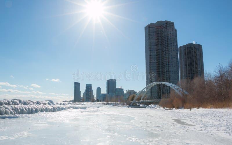 Pont de Humber occidental d'hiver de Toronto photographie stock