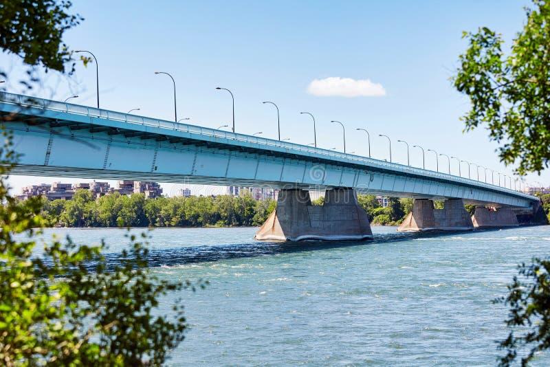 Pont de la concorde bridge on saint laurent river in Montreal, Quebec, Canada royalty free stock images