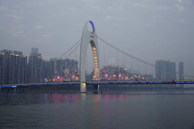 Pont de Liede au-dessus de la rivière Zhujiang, Guangzhou images stock
