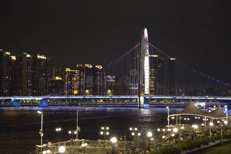 Pont de Liede au-dessus de Zhujiang Guangzhou Chine photo stock