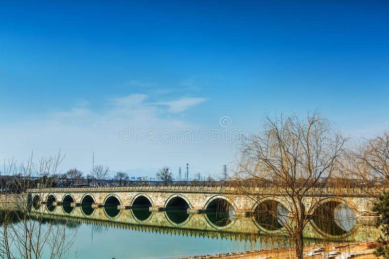 Pont de Marco Polo wanping dans Pékin image stock
