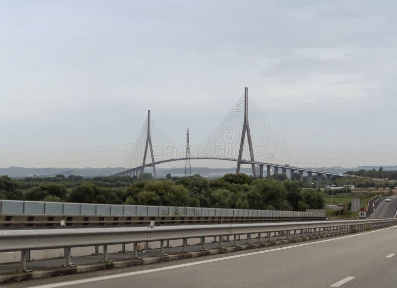 Pont de Normandie. The Pont de Normandie is a cable-stayed road bridge royalty free stock image