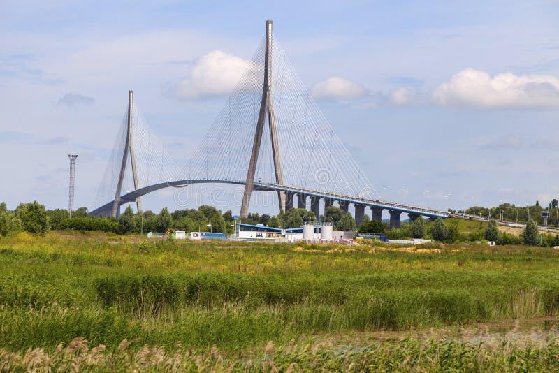 Pont de Normandie dans le Havre image libre de droits