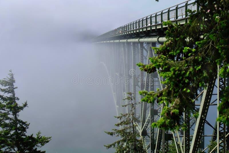 Pont de passage de duperie en brouillard photo stock