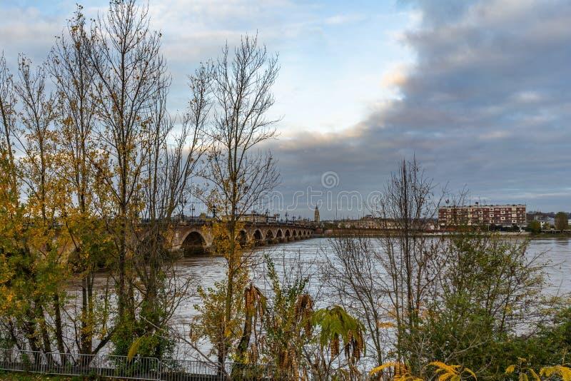 Pont de Pierre в Бордо, Франции стоковая фотография rf