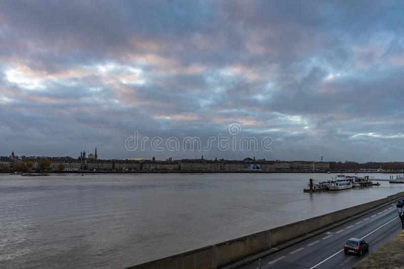Pont de Pierre in Bordeaux, Francia fotografie stock