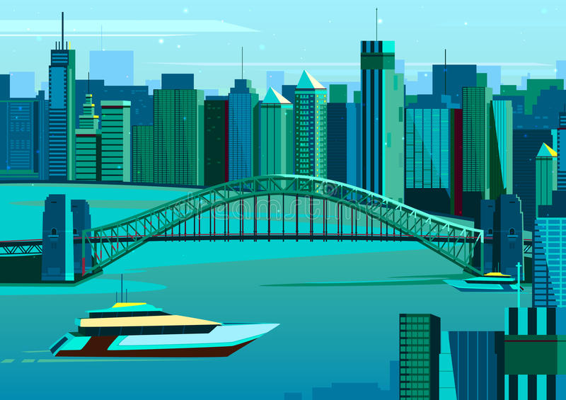 Pont de port à Sydney, Australie illustration de vecteur
