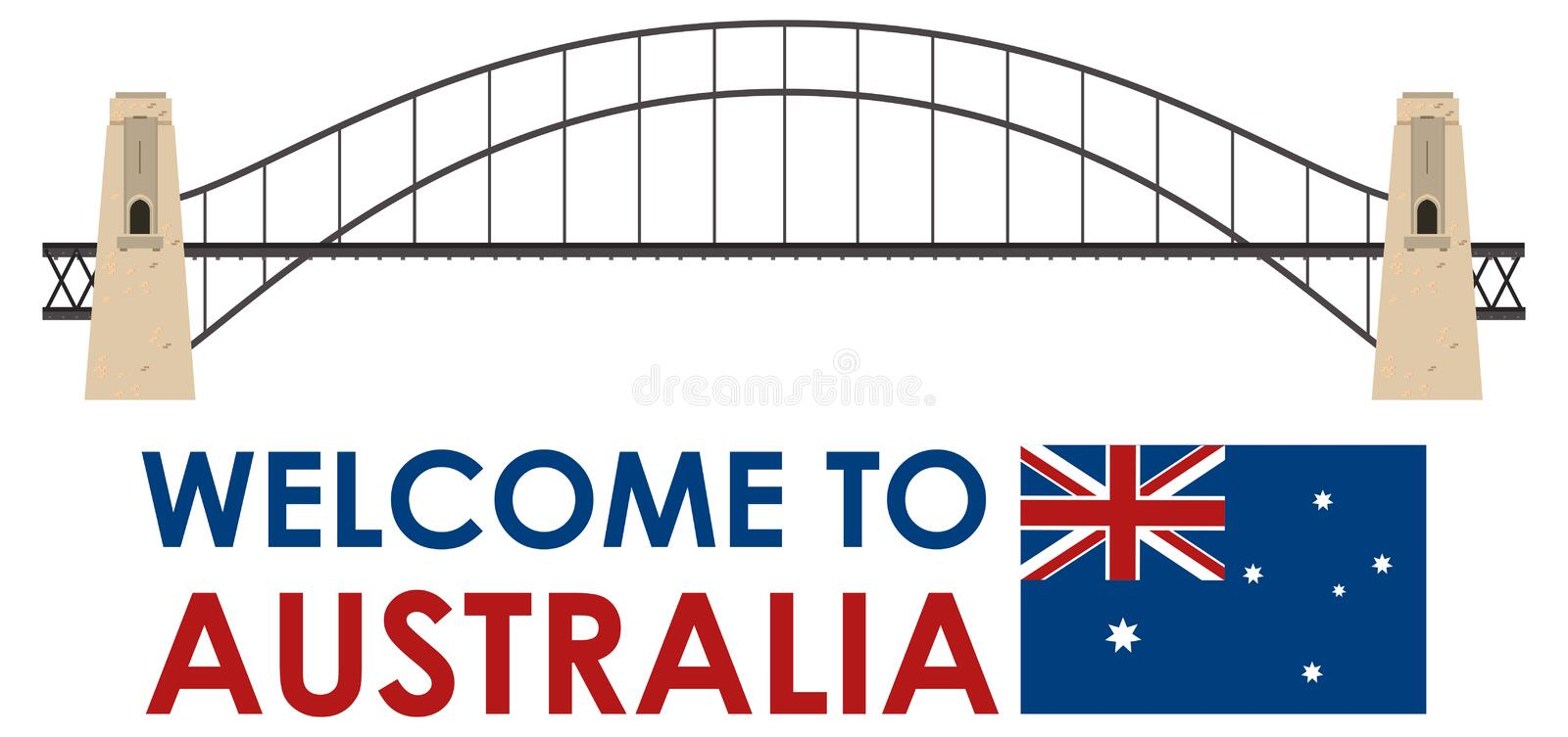 Pont de port d'Australie sur le fond blanc illustration stock
