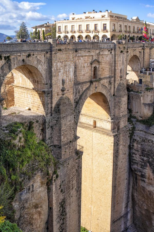 Pont de Ronda Roman et canyon, Andalousie, Espagne image stock