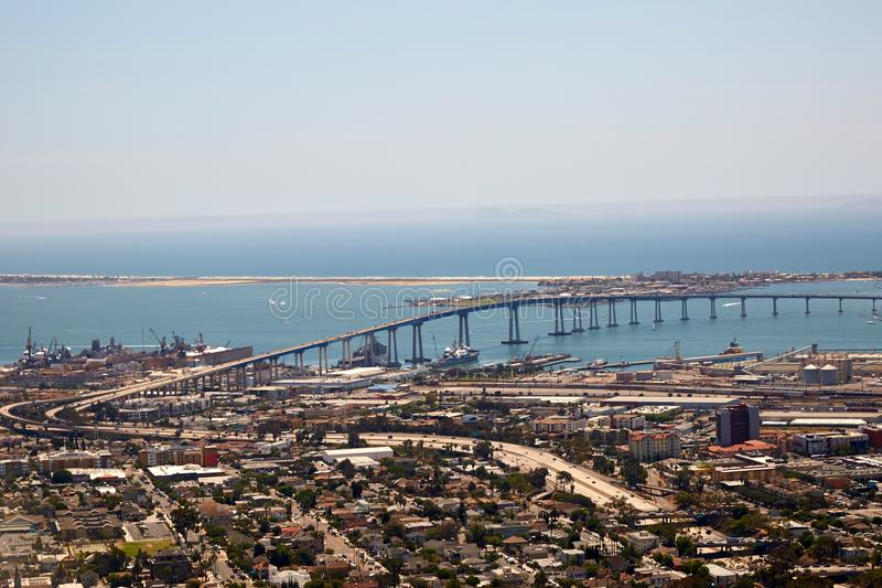 Pont de San Diego et de Coronado, la Californie photos stock