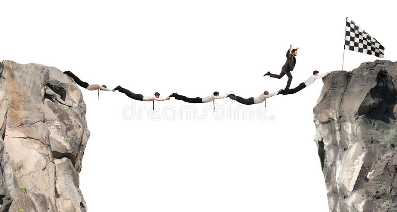 Pont de soutien d'hommes d'affaires à obtenir au drapeau Concept de but d'affaires d'accomplissement illustration libre de droits