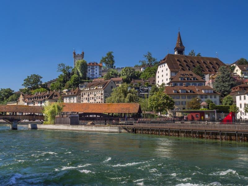 Pont de Spreuerbruecke à travers la rivière de Reuss, luzerne, Switzerla image stock
