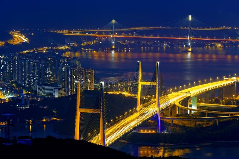 Pont de Tsing mA la nuit photos libres de droits
